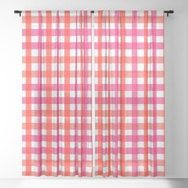 Gingham: Strawberry Flavor Sheer Curtain