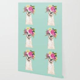 Flower Crown Llama in Green Wallpaper