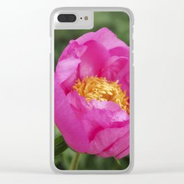 Peony Firelight - glowing pink petals Clear iPhone Case