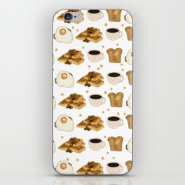 Breakfast Time Pattern on (Egg) White iPhone Skin