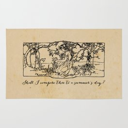 Shakespeare - Sonnet 18 - Summers Day Rug