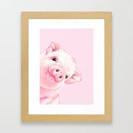 Sneaky Baby Pink Pig Framed Art Print