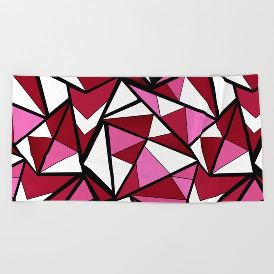 Abstract geometric triangles pattern . 6 Beach Towel