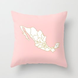 Pink Mexico map Throw Pillow
