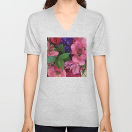 Luxurious Pink, Red and Purple Teal Floral Bouquet Unisex V-Neck