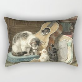 The Musicians - Vintage Cat Painting Rectangular Pillow