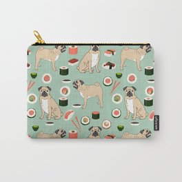 Pug sushi pattern dog breed cute pet art pet friendly gifts pugs Carry-All Pouch