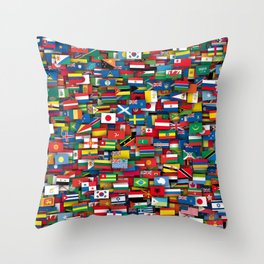 Flags of all countries of the world Throw Pillow