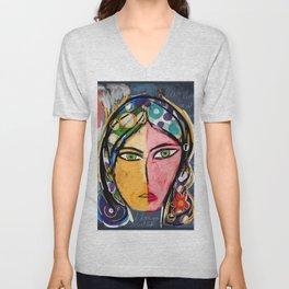 Portrait of a mystique girl Unisex V-Neck