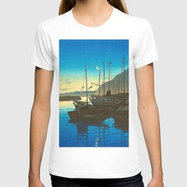 Japanese Woodblock Print Fishing Boats During Sunrise Blue Waters And Sky T-shirt
