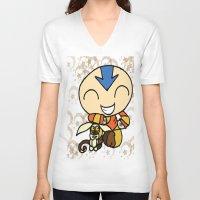 aang V-neck T-shirts featuring PowerPuff Aang by auroranq