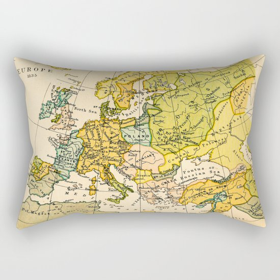 Europe in 1135 - Vintage Map Collection Rectangular Pillow
