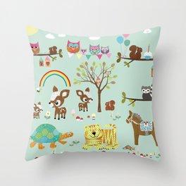 Animal Park Collage - Nursery Decor Throw Pillow