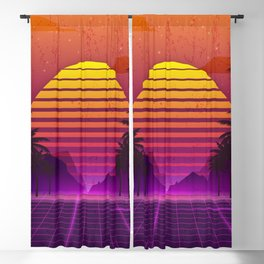 Vaporwave Palm Trees Landscape Aesthetics Blackout Curtain