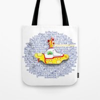 yellow submarine Tote Bags featuring Yellow Submarine by Anaïs Rivola