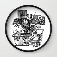 pirate Wall Clocks featuring Pirate by María Nikólskaya