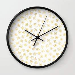 Luxe Golden Foil Snowflake Seamless Pattern Background, Elegant Hand Drawn Wall Clock