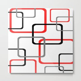 Geometric Rounded Rectangles Collage Red Metal Print