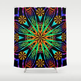 Colourful fantasy flower with tribal patterns Shower Curtain