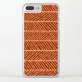 Herringbone Rust and Peach Clear iPhone Case