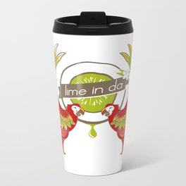Lime in the coconut and two scarlet macaws. Metal Travel Mug