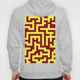 Electric Yellow and Burgundy Red Labyrinth Hoody