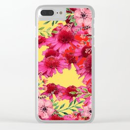 FUCHSIA-PINK FLOWERS YELLOW ART PATTERNS Clear iPhone Case