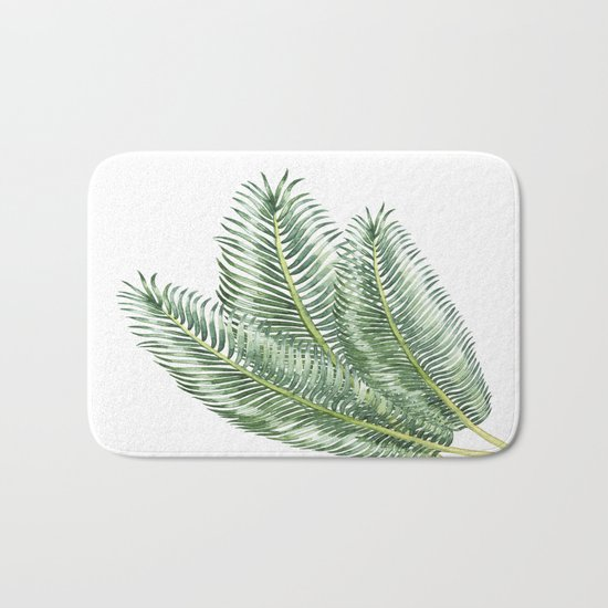 Three Palm Leaves Bath Mat