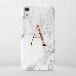 Monogram rose gold marble A iPhone Case