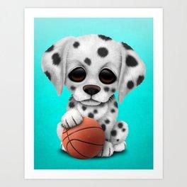 Dalmatian Puppy Dog Playing With Basketball Art Print
