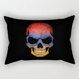 Dark Skull with Flag of Armenia Rectangular Pillow