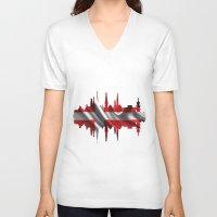 copenhagen V-neck T-shirts featuring Copenhagen city silhouette by South43