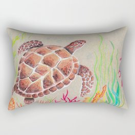 Tan Sea Turtle Rectangular Pillow