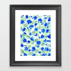 Floret (Blue) Framed Art Print
