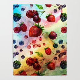Summer fruits - Fresh strawberry berry pastel pattern Poster