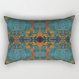 The Spindles- Blue and Orange Filigree  Rectangular Pillow