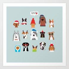 Winter dogs Art Print