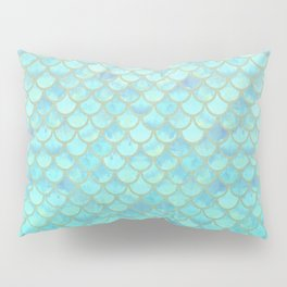 Teal Mermaid Scales Pillow Sham