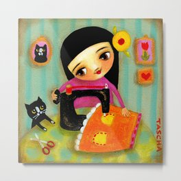 Little sewing girl with black cat Metal Print