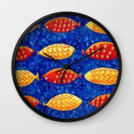 Red and Yellow Fish Wall Clock