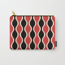 Classic Retro Ogee Pattern 937 Black and Red Carry-All Pouch