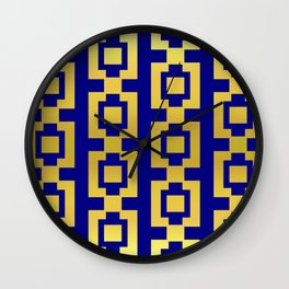 Gold and blue pattern Wall Clock