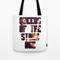 queens of the stone age Tote Bags featuring Queens Of The Stone Age QOTSA Font Josh Homme Guitar by Fligo