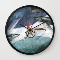 whales Wall Clocks featuring Whales by Judith Chamizo