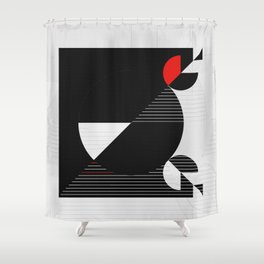 Black and white meets red Version 22 Shower Curtain