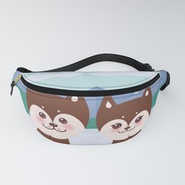 Kawaii funny brown husky dog, face with large eyes and pink cheeks, boy and girl, mountain landscape Fanny Pack