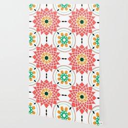 morrocan pink mandala pattern no4 Wallpaper