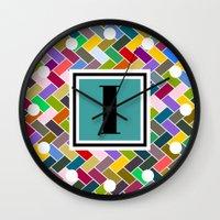monogram Wall Clocks featuring I Monogram by mailboxdisco
