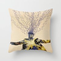 doctor who Throw Pillows featuring Doctor Who by Laura