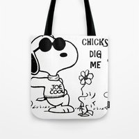 "snoopy Tote Bags featuring Snoopy ""Chicks Dig Me"" by Blue Orchid Photography"